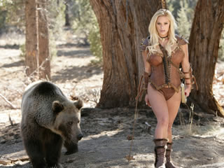 Home bear and a beautiful lady