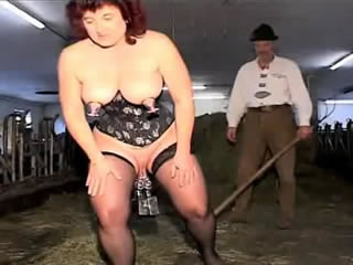 Wild farmer and his wife fucked cow